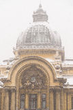 CEC Bank During Winter Snow In Bucharest Stock Images