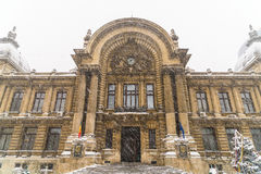 CEC Bank During Winter Snow In Bucharest Stock Photography
