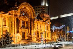 CEC Bank During Winter Snow Storm In Downtown Bucharest At Night Royalty Free Stock Photography
