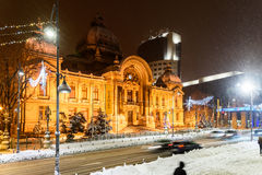 CEC Bank During Winter Snow Storm In Downtown Bucharest At Night Royalty Free Stock Photo