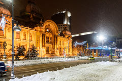 CEC Bank During Winter Snow Storm In Downtown Bucharest At Night Royalty Free Stock Photos