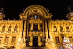 CEC Bank During Winter Snow Storm In Downtown Bucharest At Night Royalty Free Stock Images