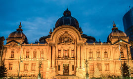The CEC Palace from Bucharest, Romania, night time Stock Image