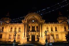 CEC Palace i Bucharest, Rumänien Arkivfoton