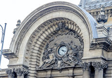 The CEC Palace. Palatul CEC. Top clock detail. Stock Images