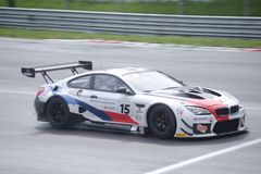 Ceccato Motor Racing Team BMW M6 on track. Photo taken at the Monza circuit in occasion of the first 2019 Endurance Series race of the Italian GT Championship stock image