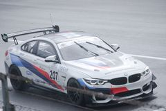 Ceccato Motor Racing Team BMW M4 on track. Photo taken at the Monza circuit in occasion of the first 2019 Endurance Series race of the Italian GT Championship stock images