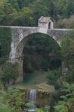 Cecco Bridge,a two-arched Roman bridge with duty little house Royalty Free Stock Image