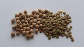 Cece e lenticchia verde Fotografia Stock