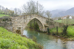 Ceceda medieval bridge in Asturias Stock Image