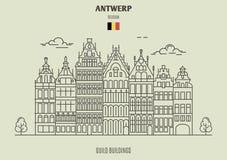 Cechów budynki w Antwerp, Belgia Punkt zwrotny ikona ilustracja wektor