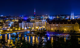 Cechuv Brigde at night, Czech Republic. Cechuv Bridge at night - view from Letna Parka Royalty Free Stock Photo