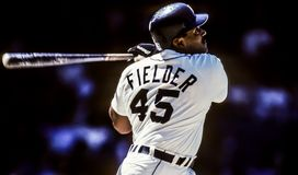 Cecil Fielder, Detroit Tigers First Baseman. Image taken from color negative Stock Photo