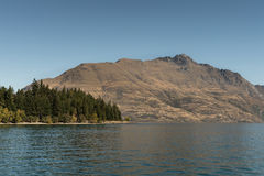 Cecil Peak and mountains across Wakatipu, Queenstown New Zealand Stock Images