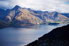 Cecil Peak on side of Lake Wakatipu, New Zealand Royalty Free Stock Photography