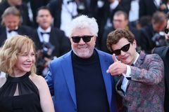 Cecilia Roth, Pedro Almodovar,  Lorenzo Ferro. Attends the screening of  `Ash Is Purest White Jiang Hu Er Nv` during the 71st  Cannes Film Festival at Palais on Royalty Free Stock Photography