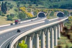 Cecina - autopista de Rosignano Solvay a Livorno, Toscana, AIE fotos de archivo libres de regalías