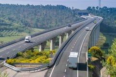 Cecina - autopista de Rosignano Solvay a Livorno, Toscana, AIE fotografía de archivo