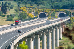 Cecina - Motorway from Rosignano Solvay to Livorno, Tuscany, Ita. Motorway from Rosignano Solvay to Livorno, Leghorn, Italy, bridge over the Valley Royalty Free Stock Photos