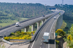Cecina - Motorway from Rosignano Solvay to Livorno, Tuscany, Ita. Motorway from Rosignano Solvay to Livorno, Leghorn, Italy, bridge over the Valley stock photography