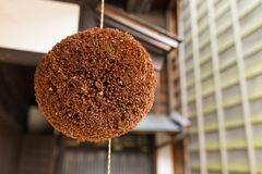 Cedar ball in Japanese wine house. Outdoor beautiful scenery landscape Royalty Free Stock Images