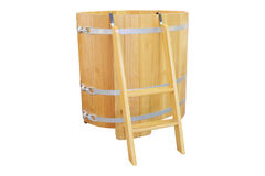 Cedar bath barrel Royalty Free Stock Image