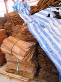 cedar boards for build a roof, wood for building. stock photos