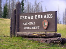 Cedar Breaks National Monument sign board. Sign marking the entrance to Cedar Breaks National Monument royalty free stock image