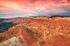 Cedar Breaks sunset. Sunset landscape in the Utah desert, USA Royalty Free Stock Photo