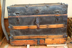 Cedar chest. Antique black and brown cedar chest royalty free stock photography