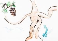 Cedar cone and fairy mandrake root Stock Image