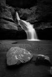 Cedar Falls in B/W. A monotone image of Cedar Falls in Hocking Hills State Park, Ohio Stock Image