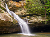 Cedar Falls - Hocking Hills Waterfall. Cedar Falls is a beautiful cascading waterfall in Ohio's Hocking Hills State Park stock image