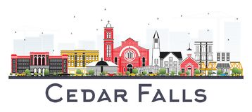 Cedar Falls Iowa Skyline met Kleurengebouwen dat op Wit wordt geïsoleerd Royalty-vrije Stock Foto's