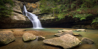 Cedar Falls Panoramic. A view of Cedar Falls in Hocking Hills State Park, Ohio Royalty Free Stock Images
