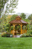 Cedar Gazebo Backyard Garden Park. Cedar gazebo in city park Royalty Free Stock Photography