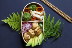 Japanese bento lunch box with tofu. Cedar Japanese bento box lunch with mushrooms, onigiri, avocado and tofu stock images