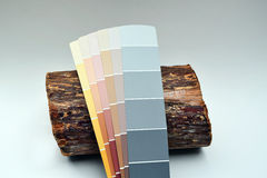 This is a cedar log with several paint chips leaning on it for comparison Stock Photos