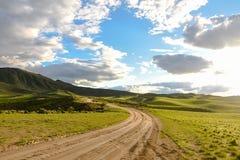 Cedar Mountain Road At Sundown-de Lente stock foto's