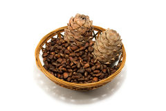 Cedar nuts. On dish isolated on a white Stock Images
