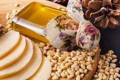 Cedar oil and cedar nuts, selective focus stock image