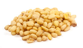 Cedar Pine nuts on a white Stock Images