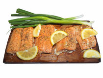 Cedar plank salmon Royalty Free Stock Photos