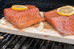 Cedar plank salmon with lemon on a grill Royalty Free Stock Photo