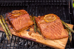 Cedar plank salmon with lemon on a grill Stock Images