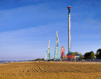 Cedar Point, Lake Erie, Ohio. A view from the beach of Cedar Point, an historic and famous amusement park known for roller coasters on Lake Erie, one of the stock images