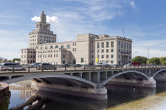 Cedar Rapids City Hall. The old Cedar Rapids (Iowa) City Hall sits on an island in the Cedar River Royalty Free Stock Image