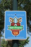 Cedar Rapids Iowa Sign. Signs of Progress sign in downtown Cedar Rapids, Iowa Royalty Free Stock Photos