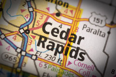 Cedar Rapids on map. Closeup of Cedar Rapids, Iowa on a road map of the United States royalty free stock photos
