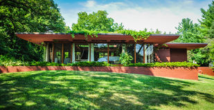 "Cedar Rock - Iowa. Cedar Rock, a modest ""Usonian"" home designed by Frank Lloyd Wright for the Walters family. Cedar Rock State Park is a state park royalty free stock photos"